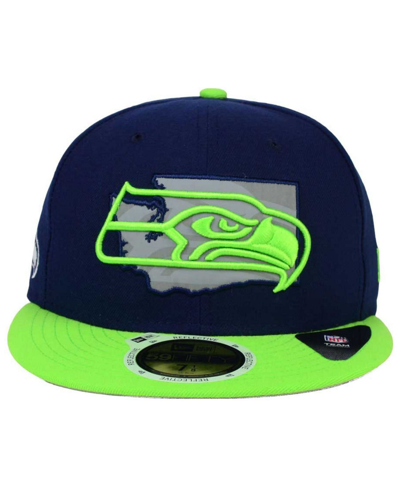 4275315935c Lyst Ktz Seattle Seahawks State Flective Redux 59fifty Cap In Blue. New Era  Seattle Seahawks Navy 2018 ...