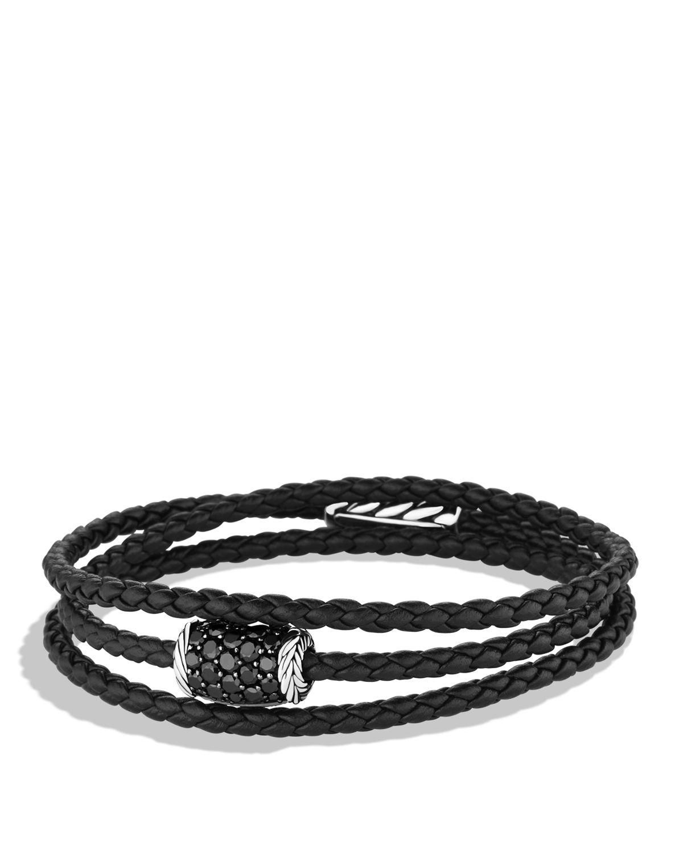 Lyst David Yurman Chevron Triple Wrap Bracelet With Black Diamonds