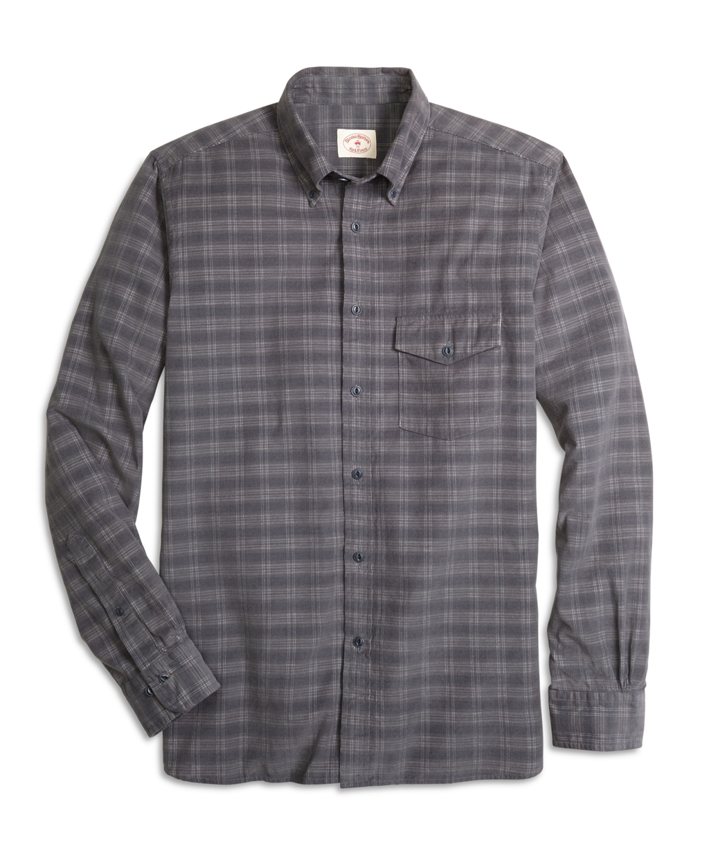 Brooks brothers plaid corduroy sport shirt in gray for men for Brooks brothers sports shirts