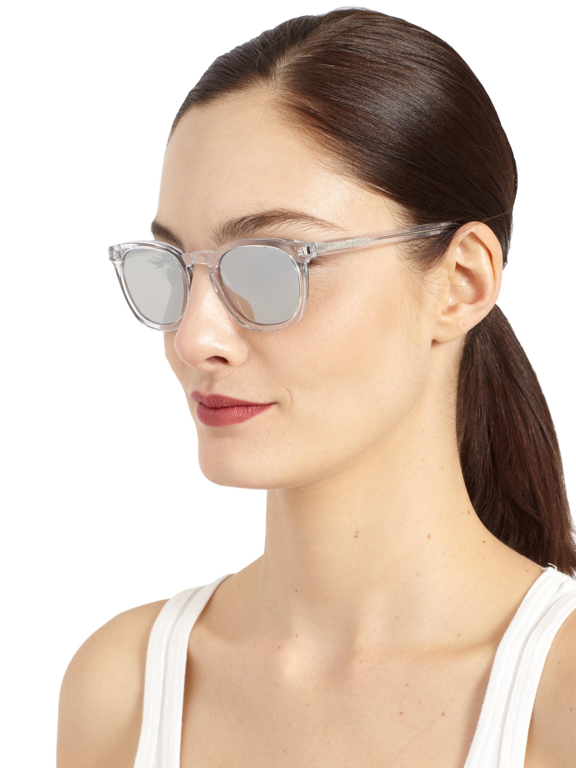 Lyst Saint Laurent Round Acetate Mirrored Sunglasses