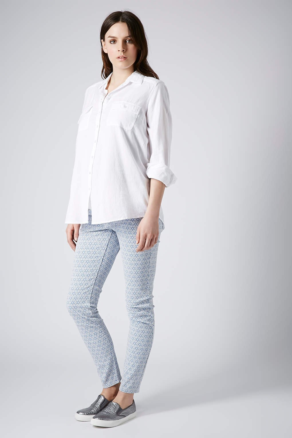 Topshop Maternity Moto Tile Print Leigh Jeans in Blue | Lyst
