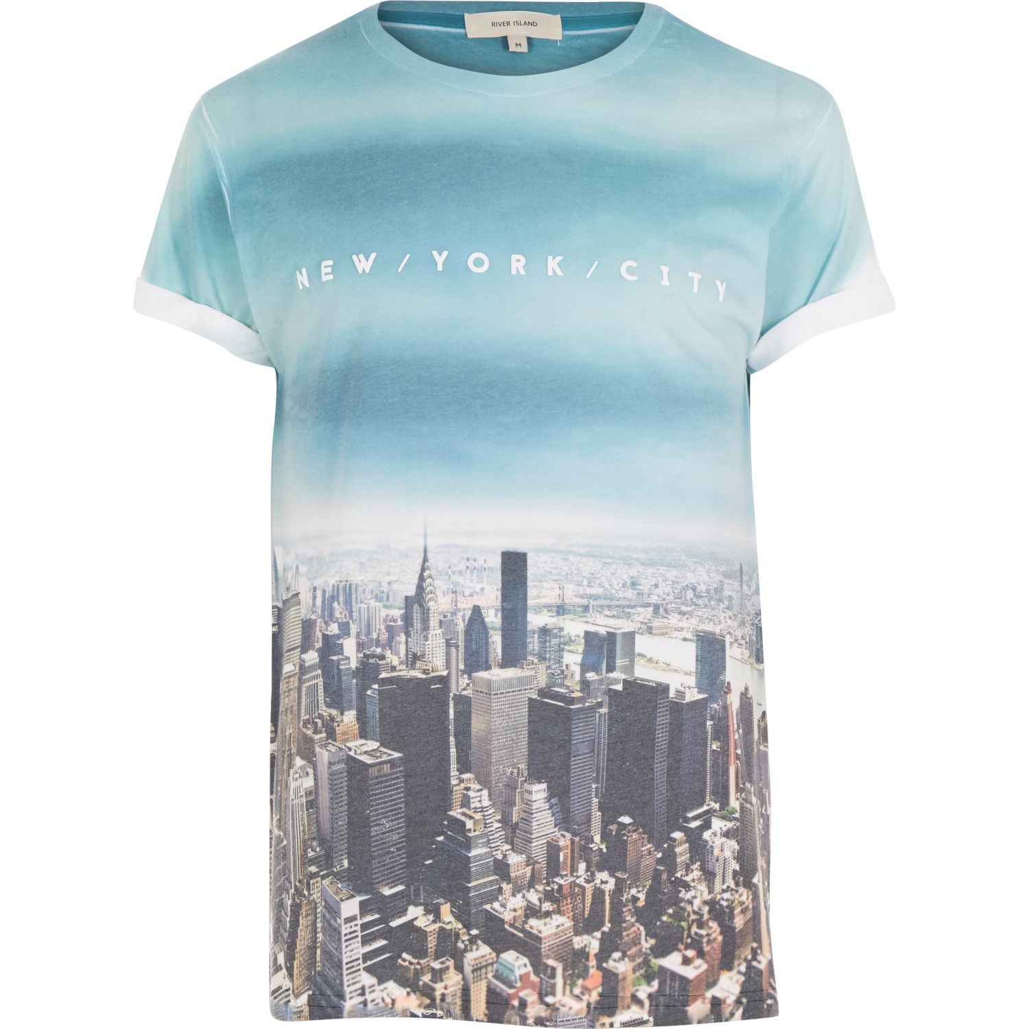 River island blue new york city print t shirt in blue for for T shirt printing stonecrest mall