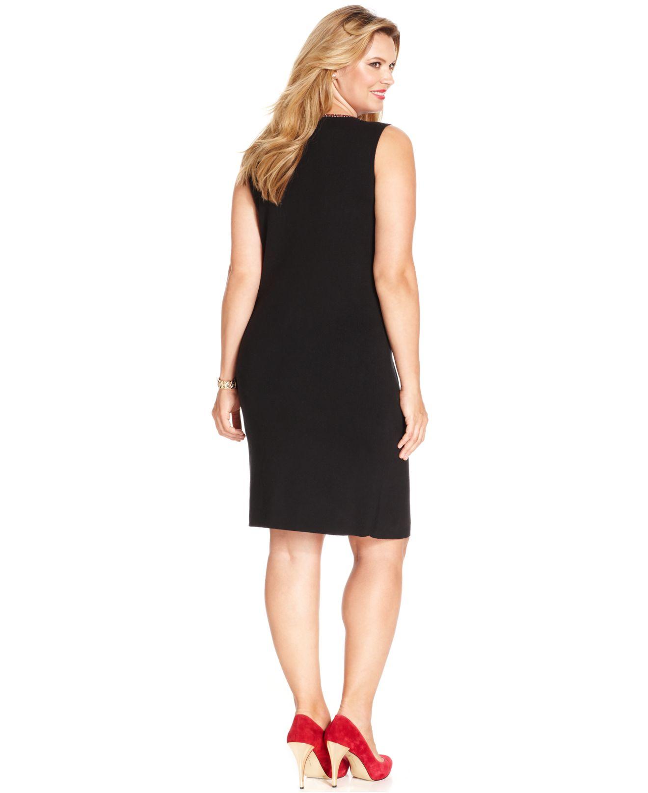 bcbe2855a58 Lyst - Jones New York Signature Plus Size Sleeveless Sweater Dress ...