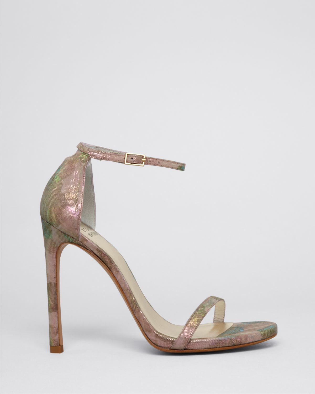 1f1fa51b25f3 Lyst - Stuart Weitzman Ankle Strap Sandals - Nudist High Heel ...