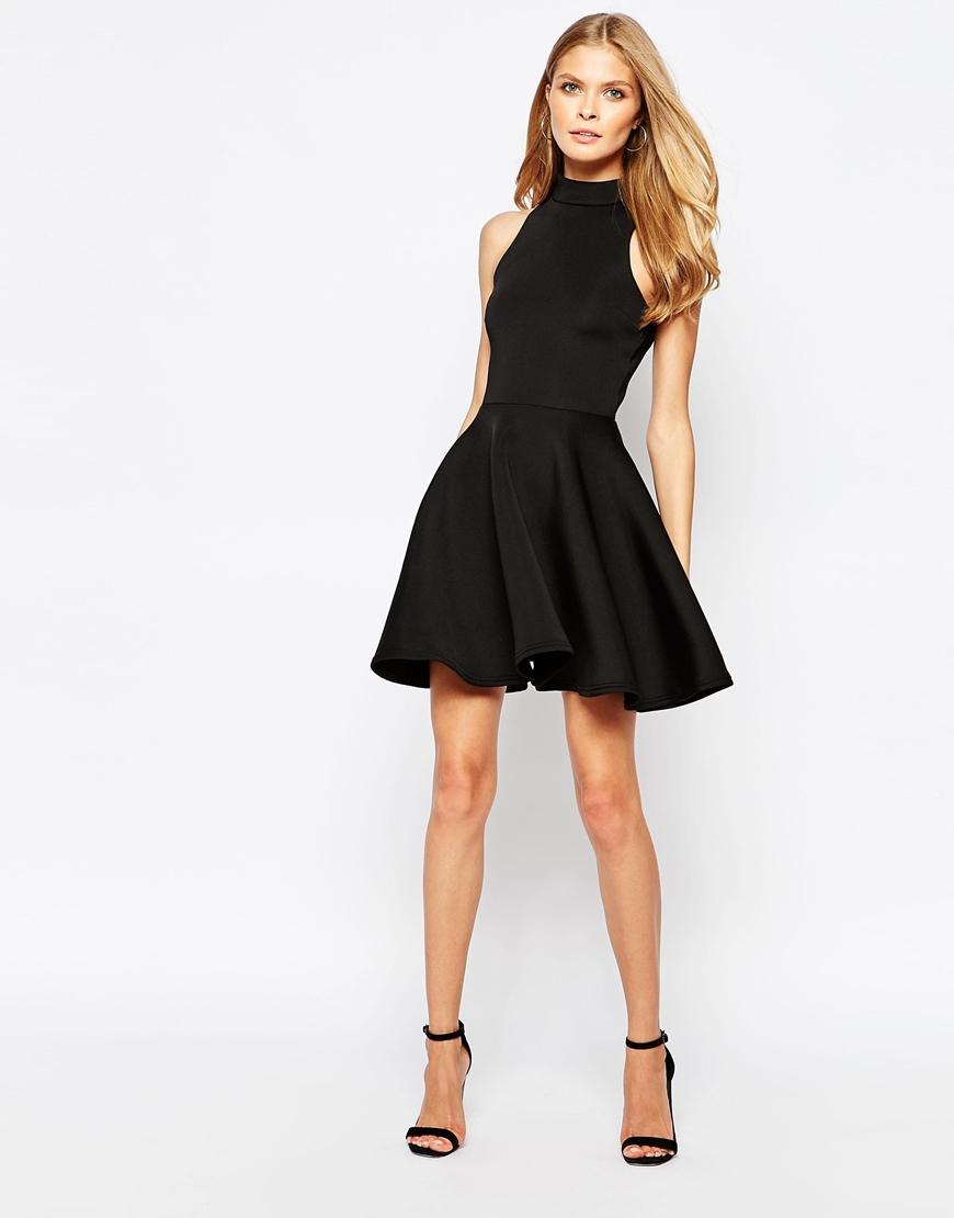 Lyst - Oh My Love High Neck Skater Dress In Scuba in Black 474f77be4