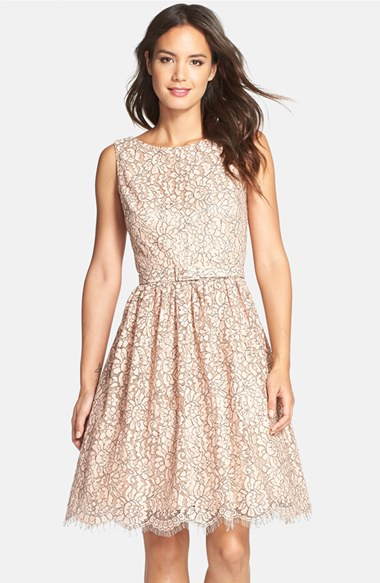 e118bd1b77574 Eliza J Belted Lace Fit & Flare Dress in Pink - Lyst