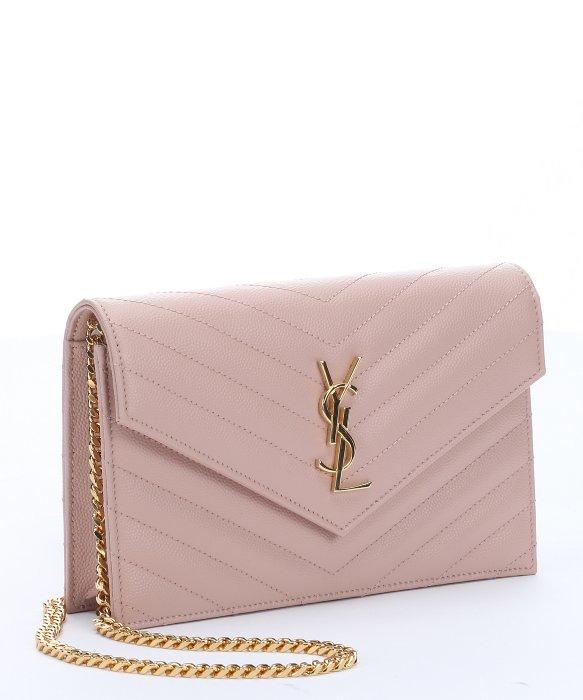 Saint laurent Blush Pink Matelassã© Leather Monogram Shoulder Bag ...