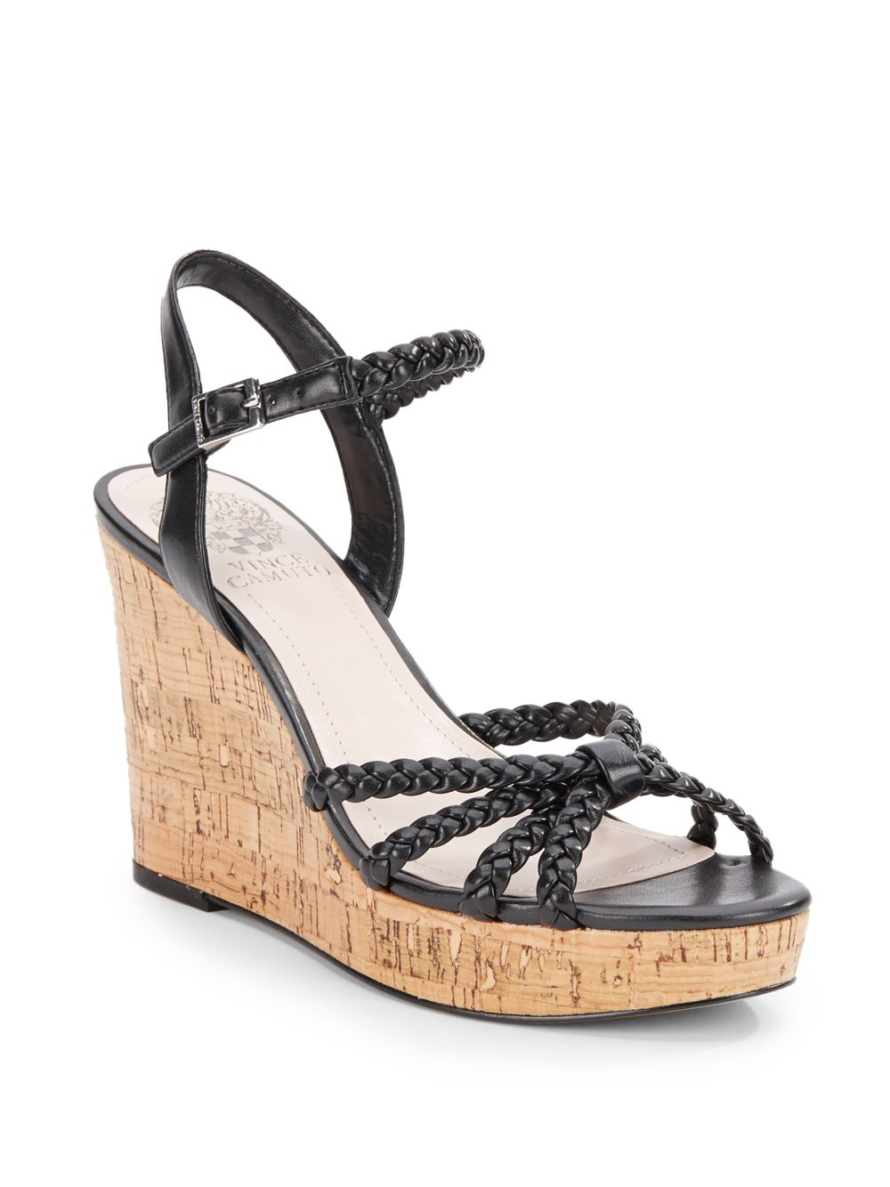 9cd2db309bf Lyst - Vince Camuto Trudy Braided Strappy Cork Wedge Sandals in Black