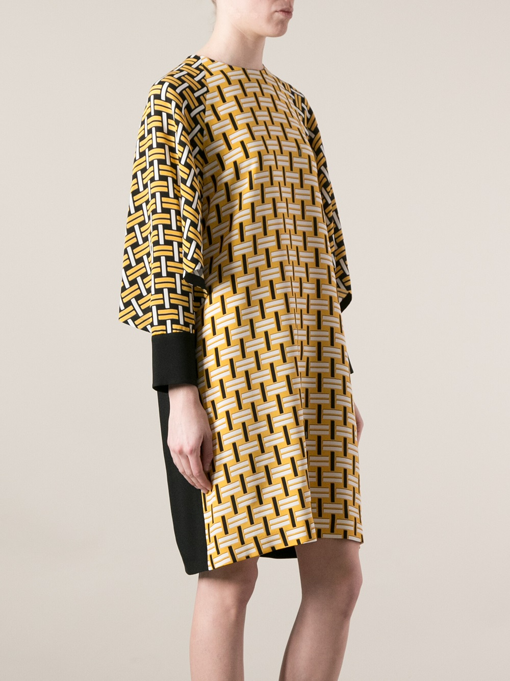 Lyst Fendi Printed Bat Wing Sleeve Dress In Yellow
