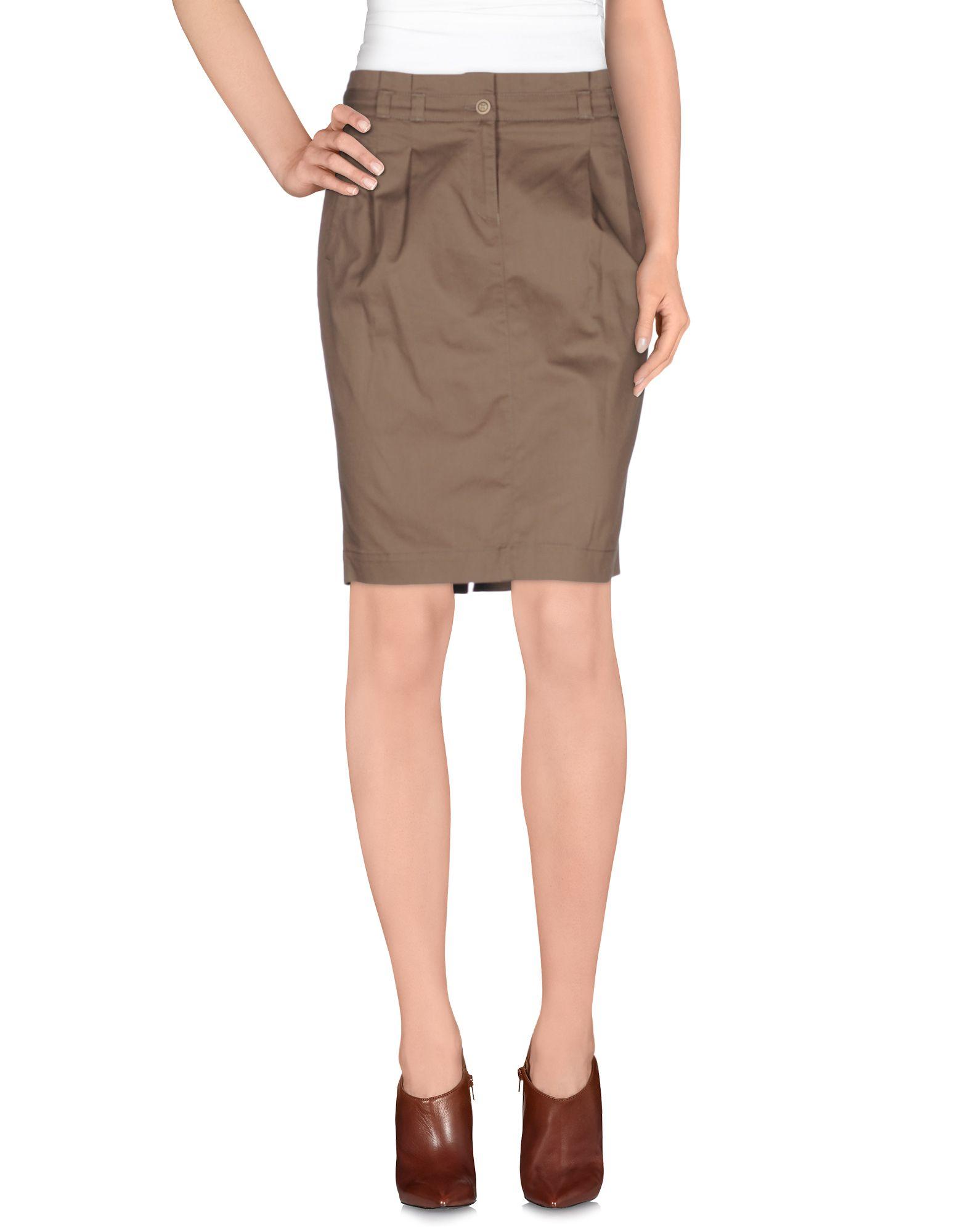 trussardi knee length skirt in khaki lyst