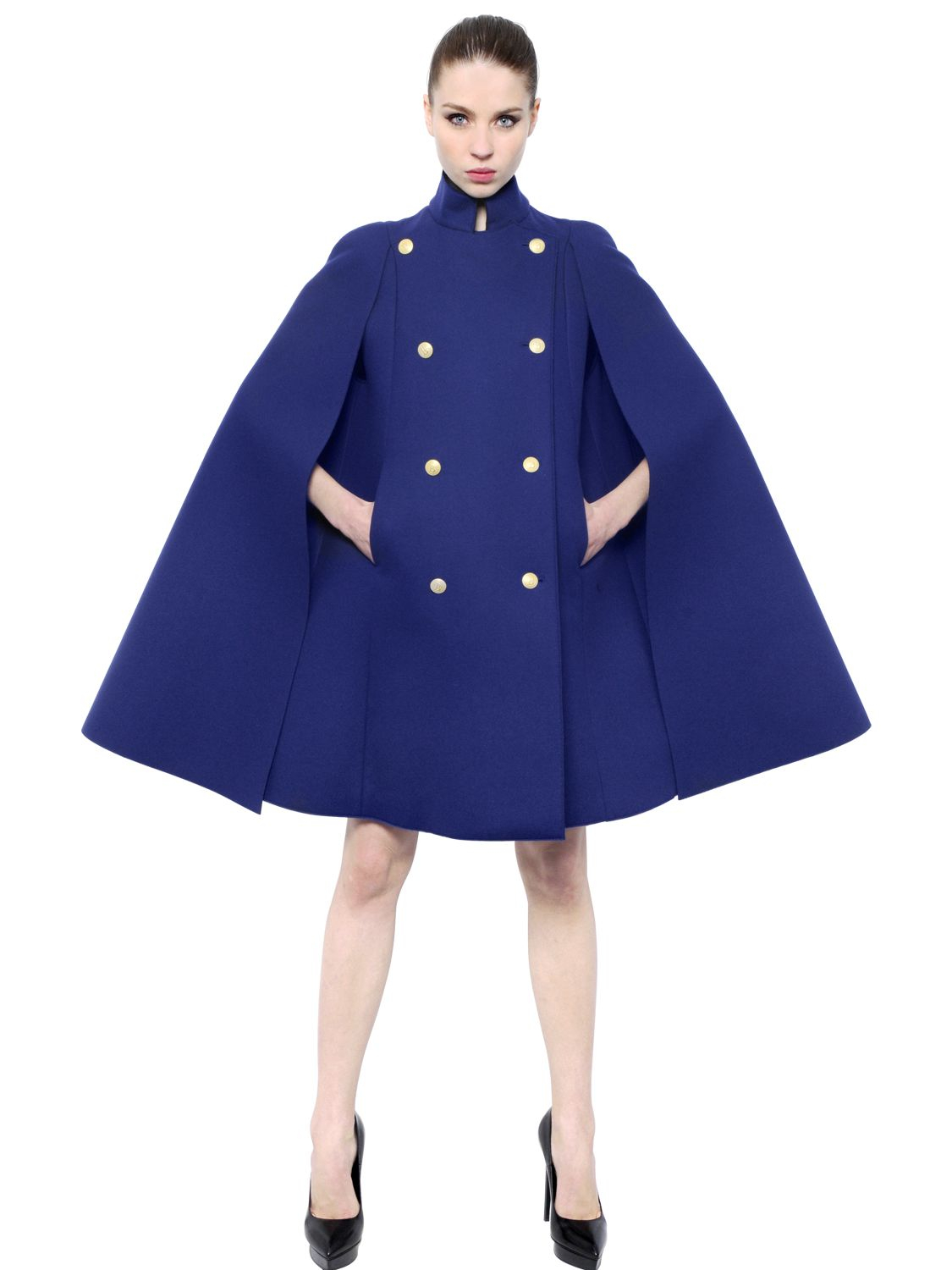 Balmain Double Breasted Bonded Wool Cape In Blue  Lyst-3851