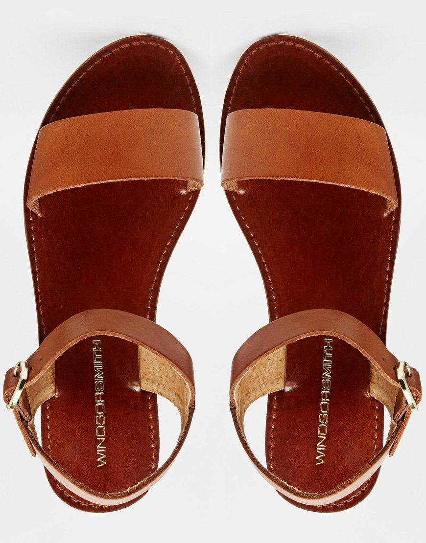 9e5e59027d93 Lyst - Windsor Smith Bondi Tan Leather Flat Sandals in Brown