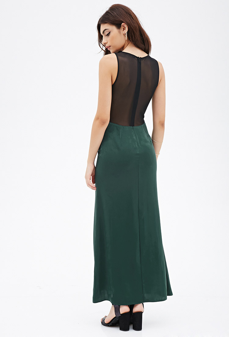 Lyst Forever 21 Mesh Paneled Maxi Dress In Green