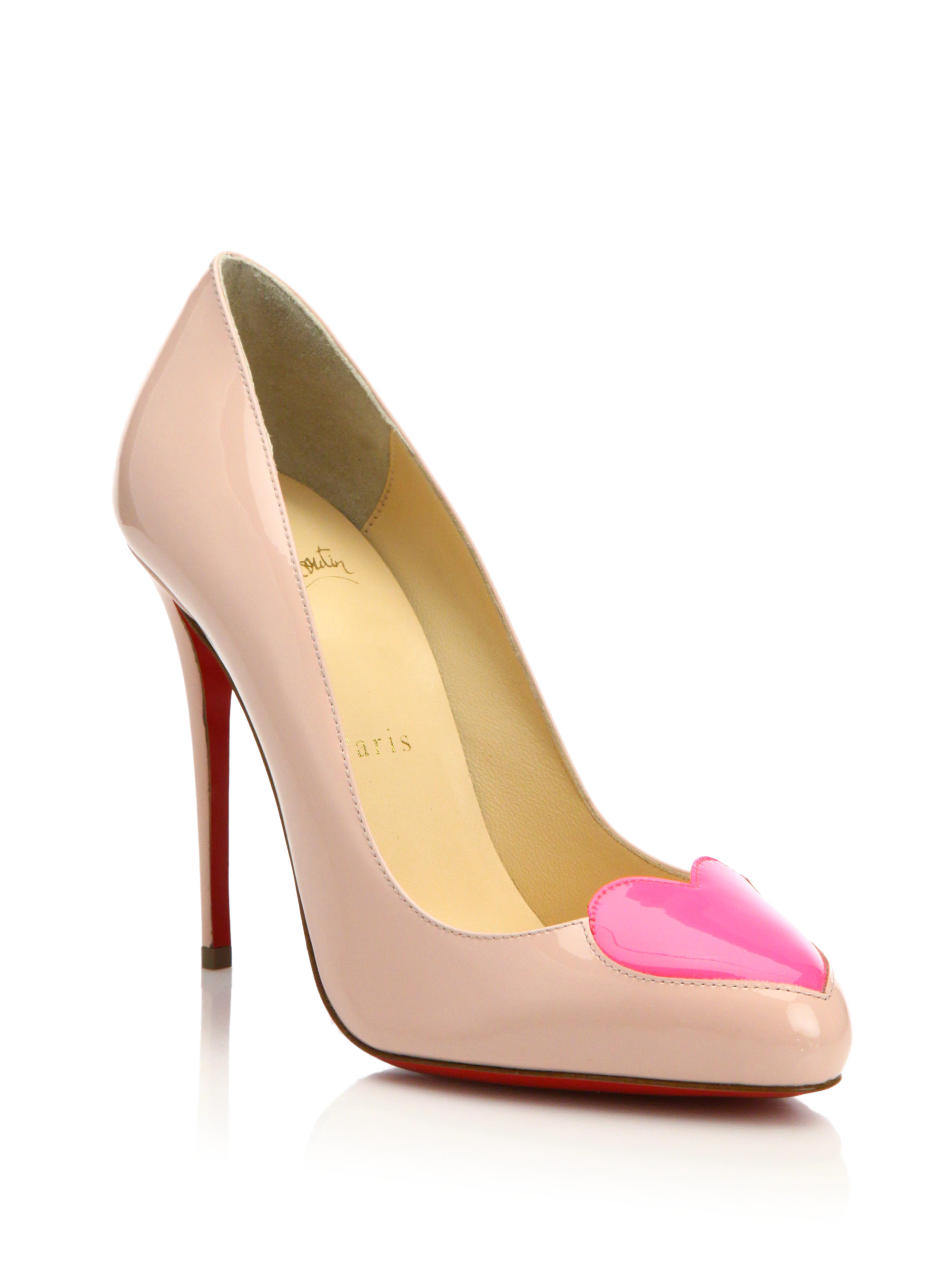 51b8cbc2d795 ... wholesale lyst christian louboutin doracora heart patent leather pumps  in pink aac45 bdaea