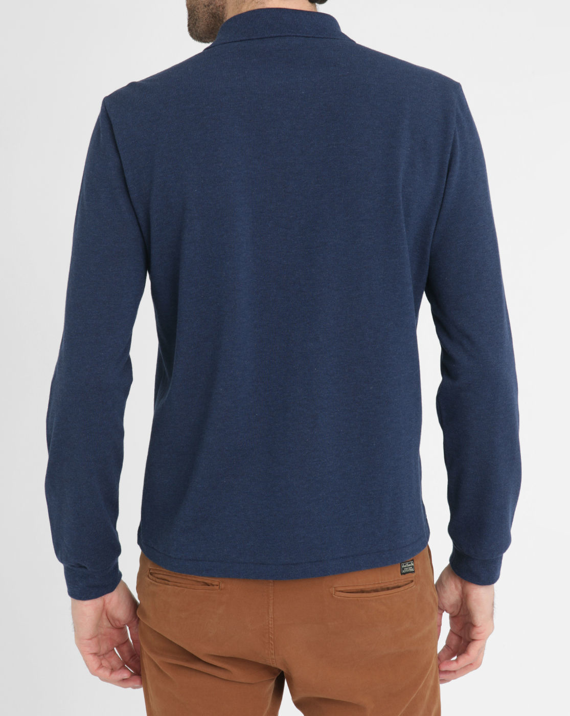 Lacoste Mottled Navy Long Sleeve Polo Shirt In Blue For