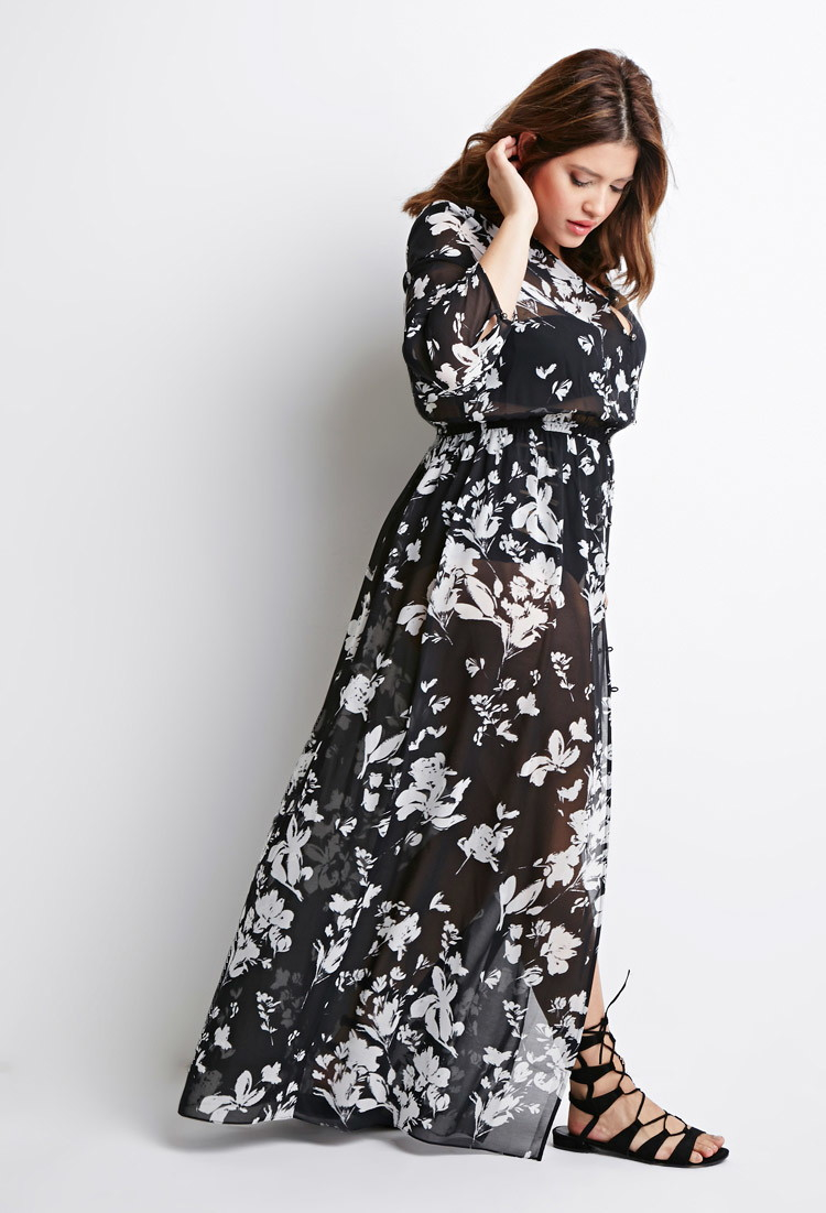 d6d0002861 Lyst - Forever 21 Plus Size Floral Chiffon Maxi Dress in Black