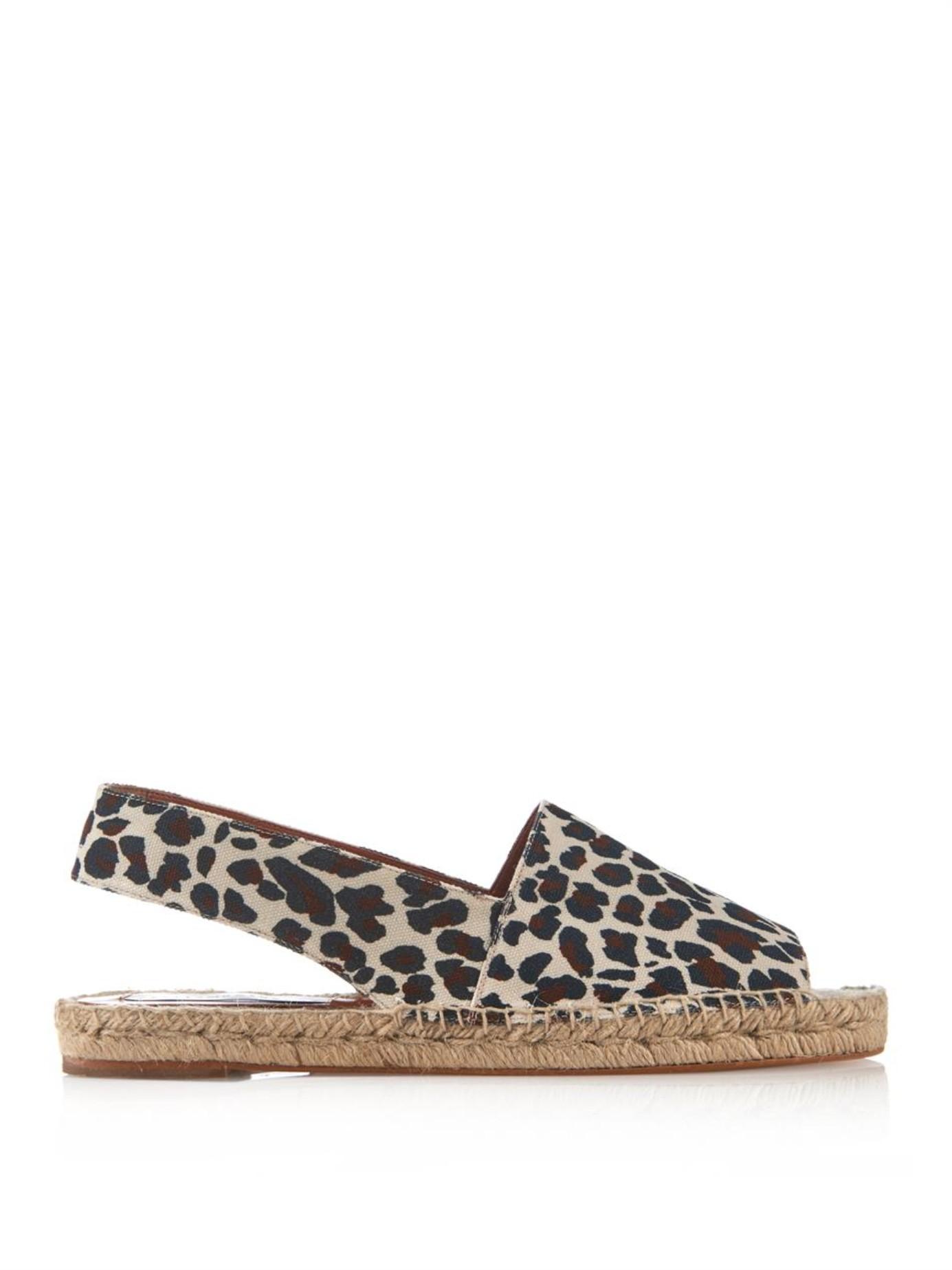 Lyst Stella Mccartney Rocio Leopard Print Canvas Sandals