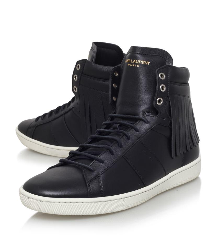 saint laurent fringe high top sneaker in black for men lyst. Black Bedroom Furniture Sets. Home Design Ideas