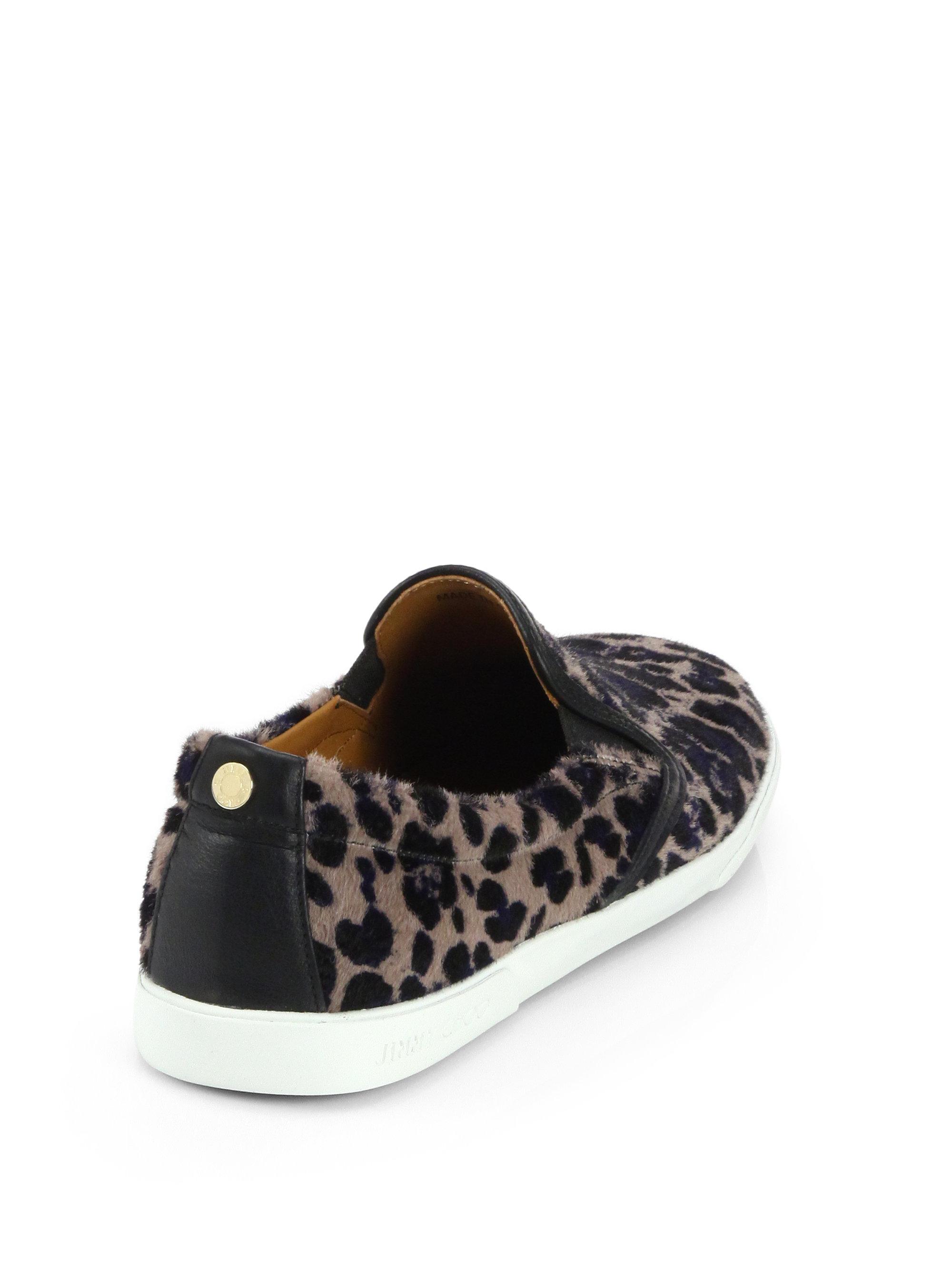 fab24ccad95 Lyst - Jimmy Choo Demi Leopard-Print Calf Hair Sneakers
