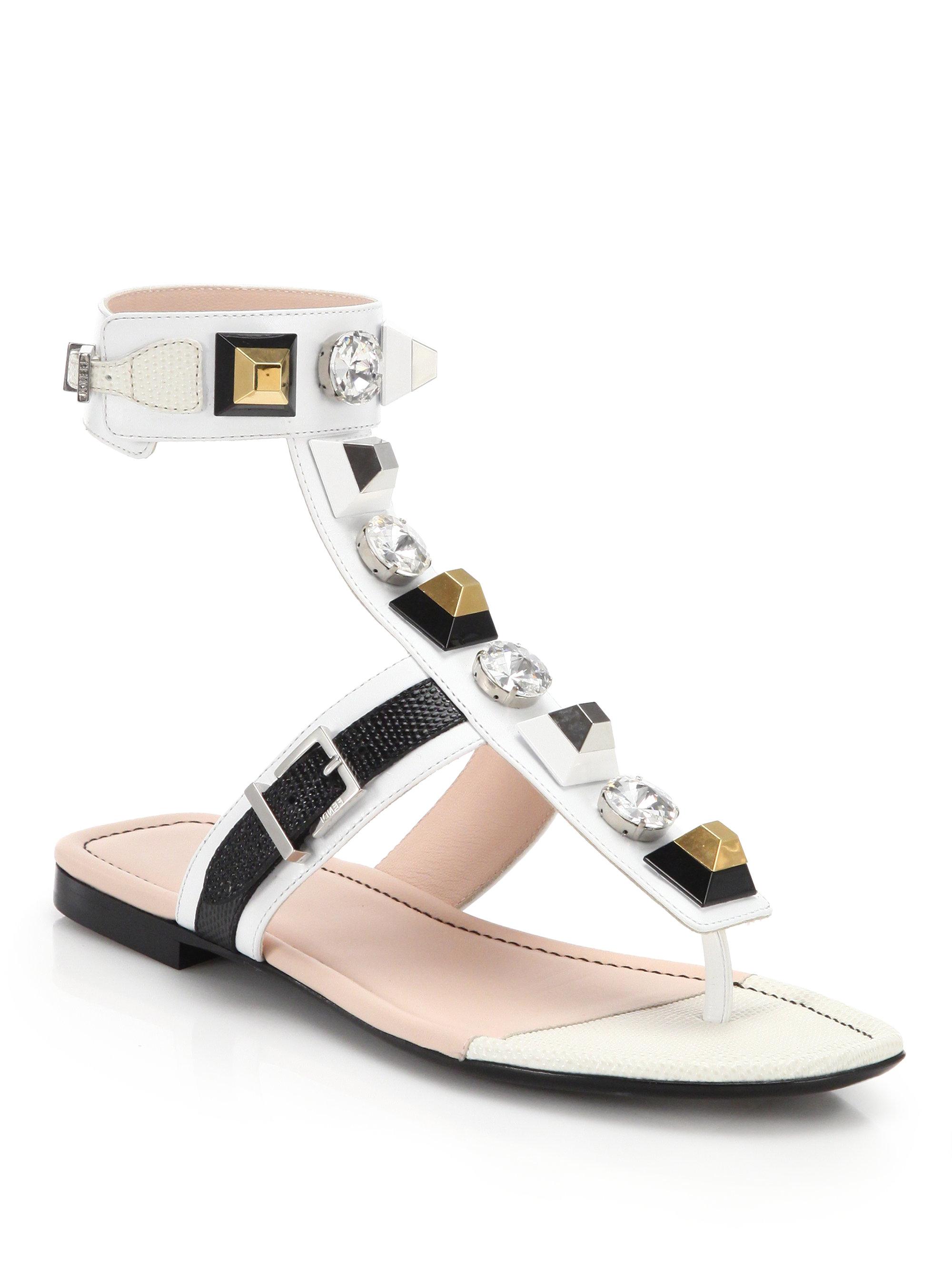 9f52d114bd8b25 Lyst - Fendi Embellished Leather Sandals