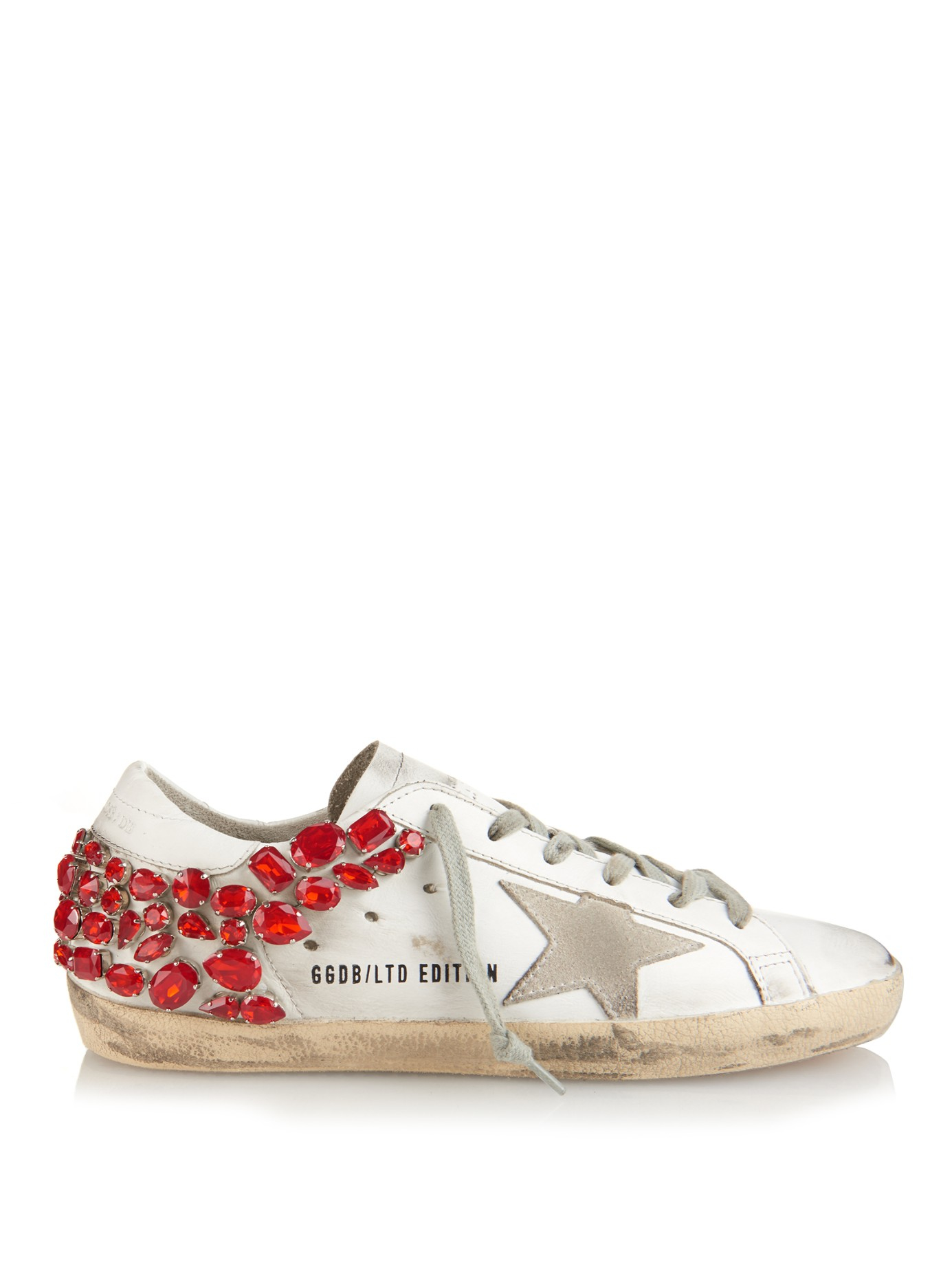 golden goose deluxe brand super star crystal embellished leather trainers in red lyst. Black Bedroom Furniture Sets. Home Design Ideas