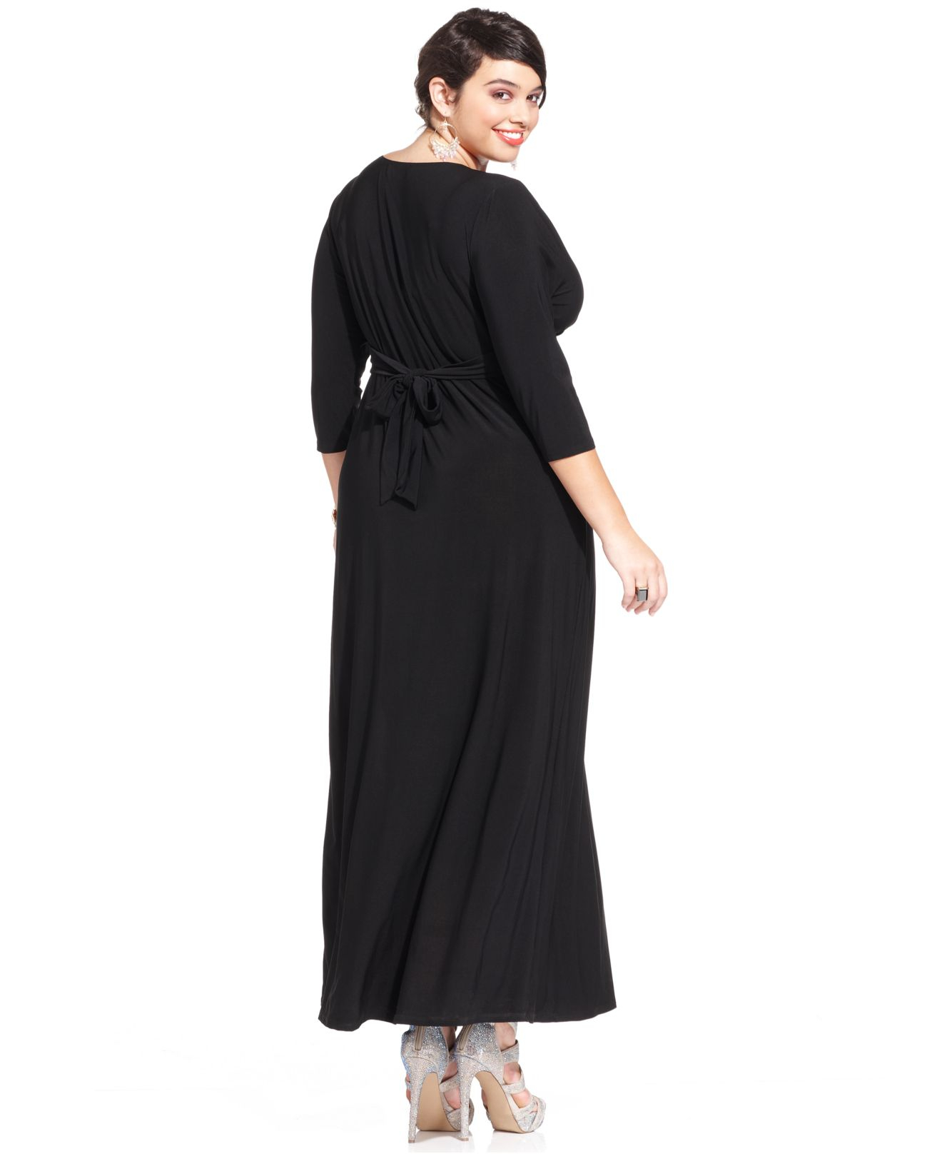Love Squared Plus Size Three-quarter-sleeve Knotted Maxi