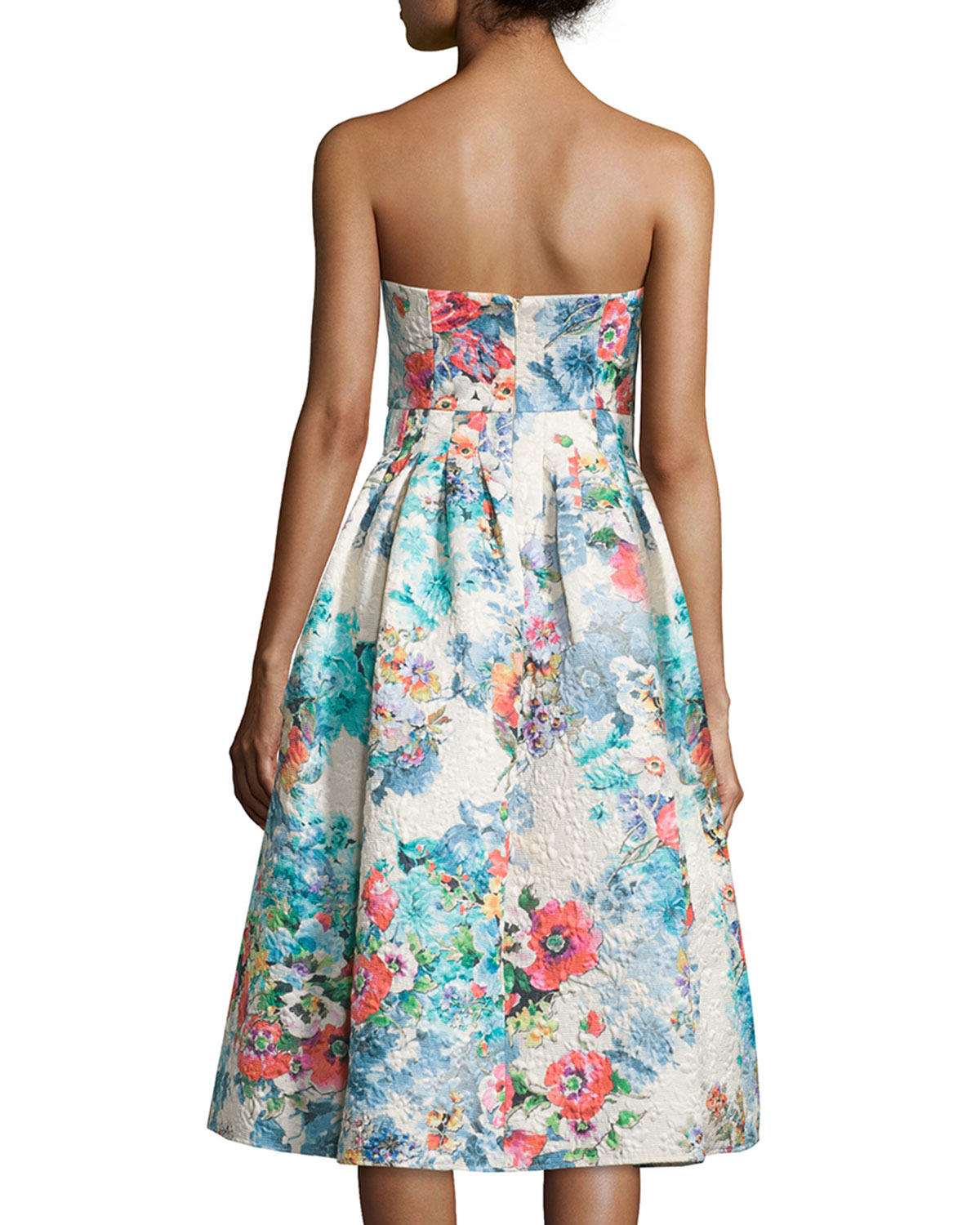 Cynthia rowley Strapless Floral-print Tea Dress in Natural | Lyst