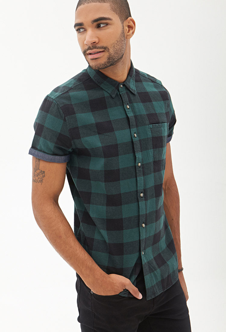 Forever 21 Checkered Cotton Shirt in Green for Men | Lyst