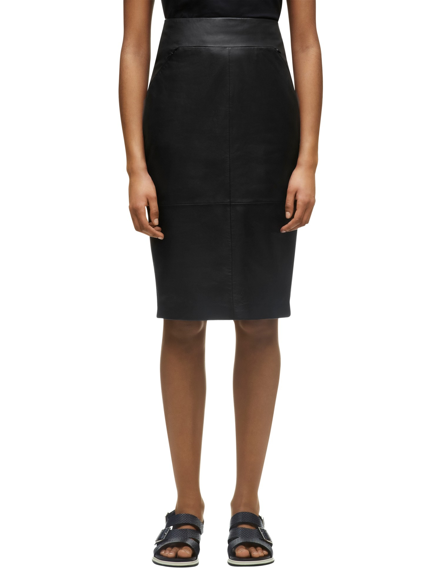 whistles dixie leather pencil skirt in black lyst