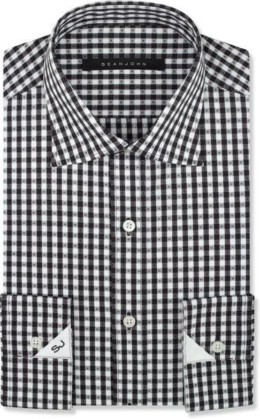 Sean john black and white check dress shirt in black for for Black and white check mens shirt