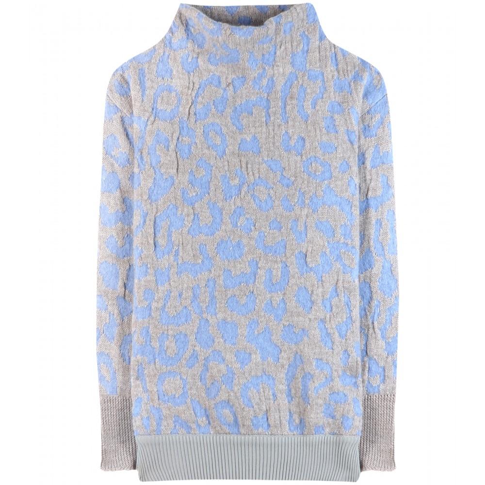 Acne studios Mist Animal-Print Sweater in Blue | Lyst