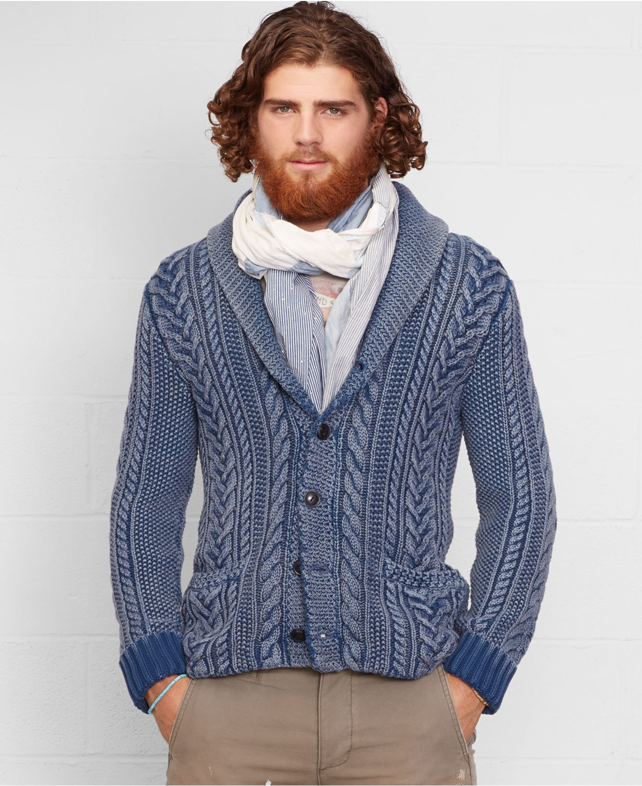 Denim Amp Supply Ralph Lauren Cable Knit Shawl Cardigan In