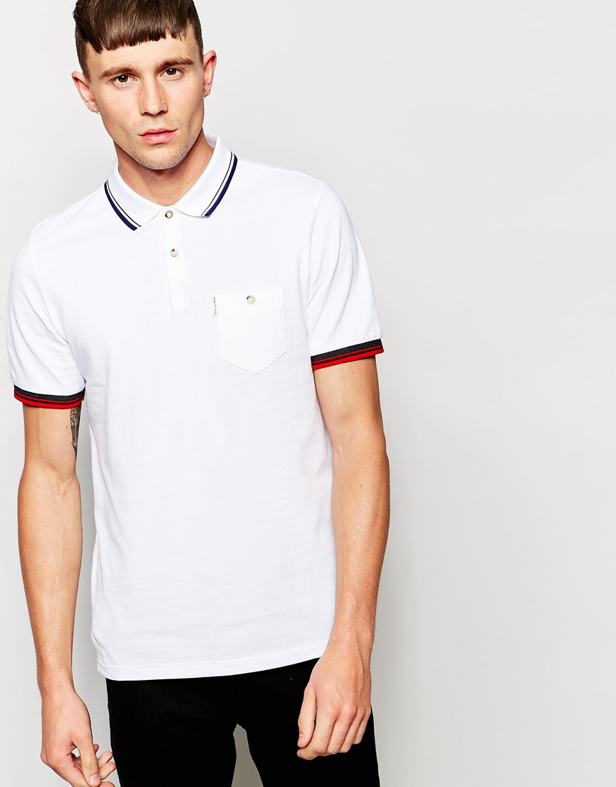 ben sherman polo shirt with multi tip in white for men lyst. Black Bedroom Furniture Sets. Home Design Ideas