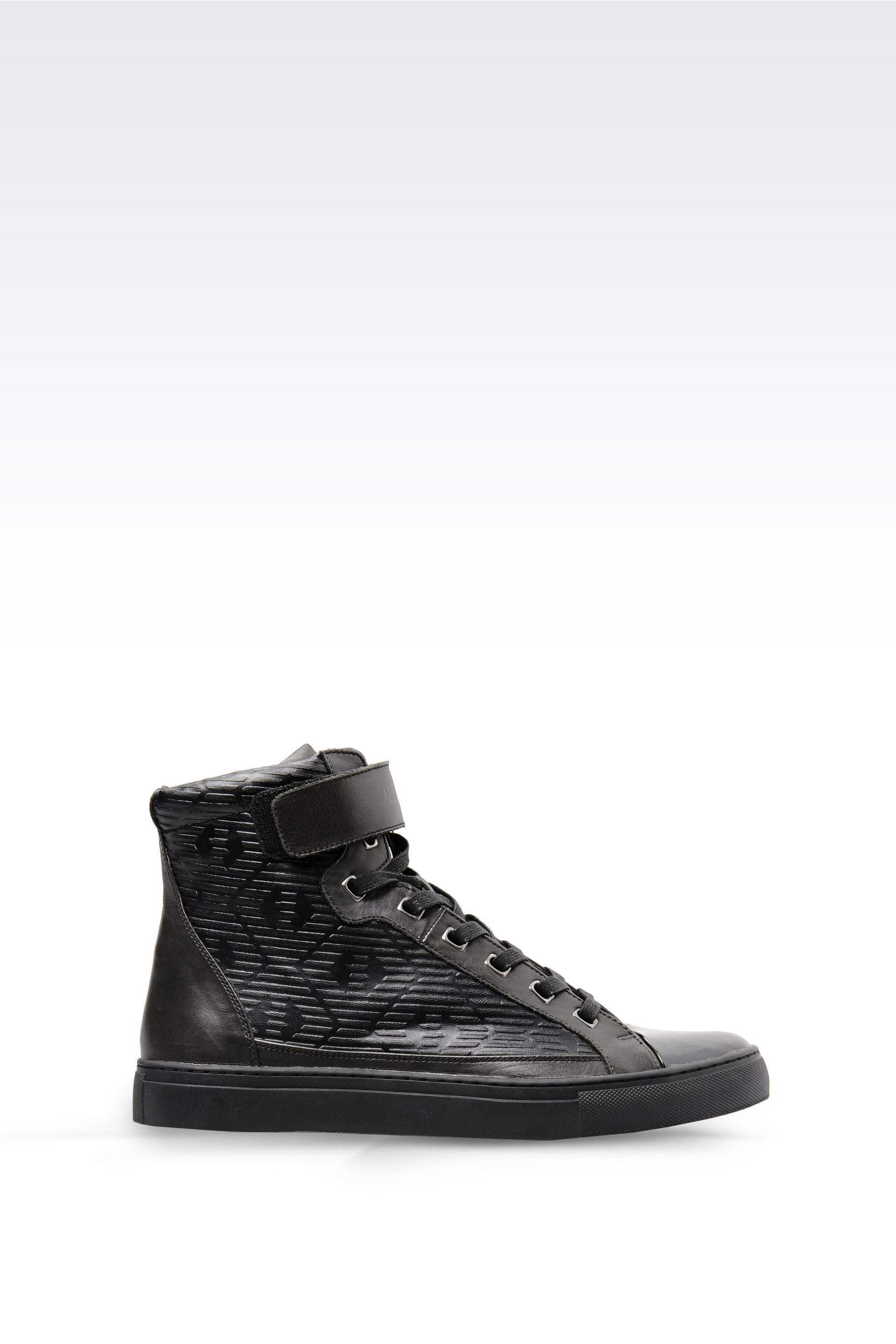 armani jeans high top sneaker in leather and patent in black for men lyst. Black Bedroom Furniture Sets. Home Design Ideas