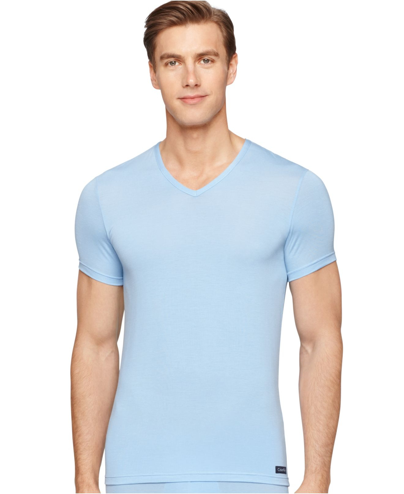 Calvin klein micro modal v neck t shirt u5576 in blue for for Modal t shirts mens