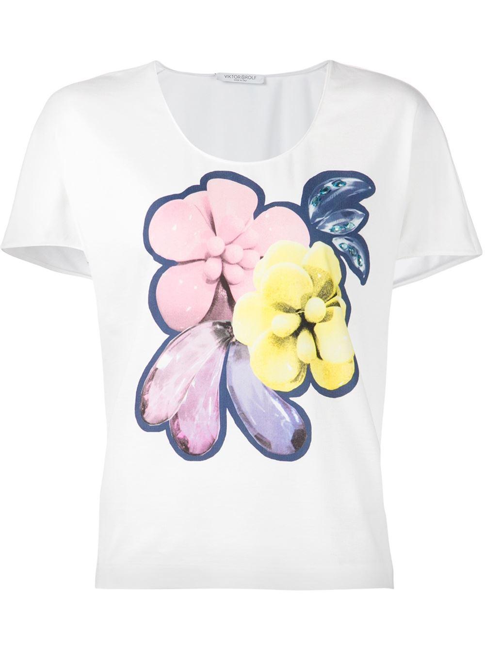 viktor rolf floral t shirt in white lyst. Black Bedroom Furniture Sets. Home Design Ideas