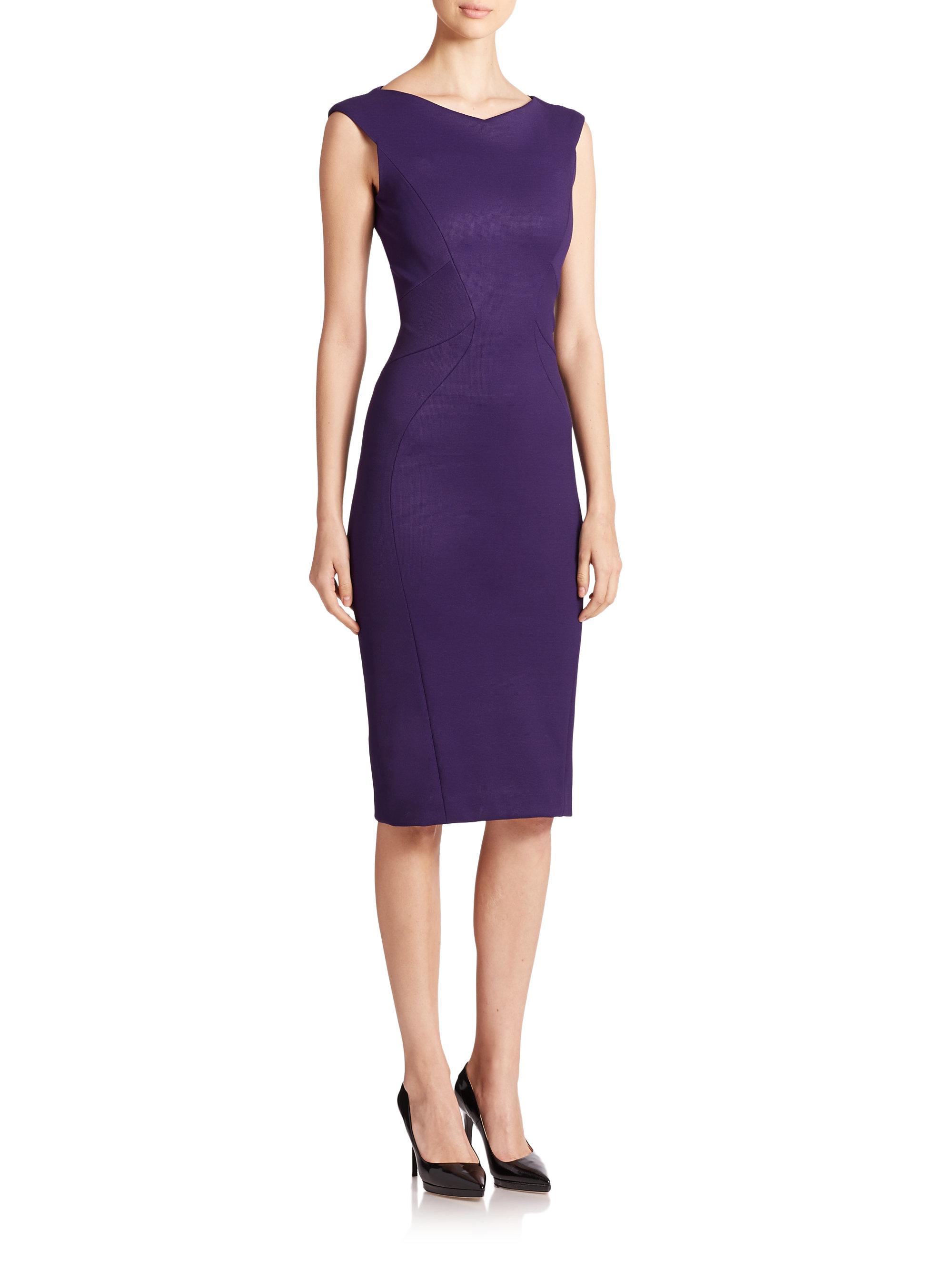 Lyst Zac Posen Jersey Sheath Dress In Purple