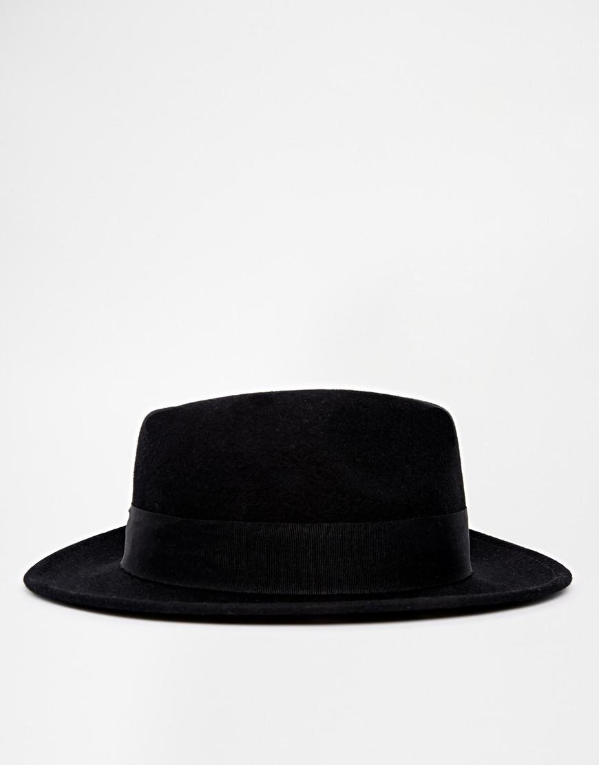 Lyst - ASOS Pork Pie Hat In Black Felt With Wide Brim in Black for Men d9057824700