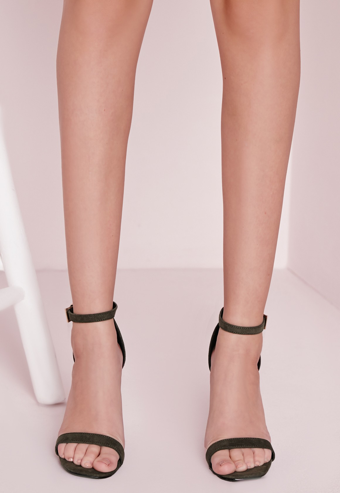 87b3f0db1e6f2c Lyst - Missguided Barely There Strappy Heeled Sandals Khaki in Natural