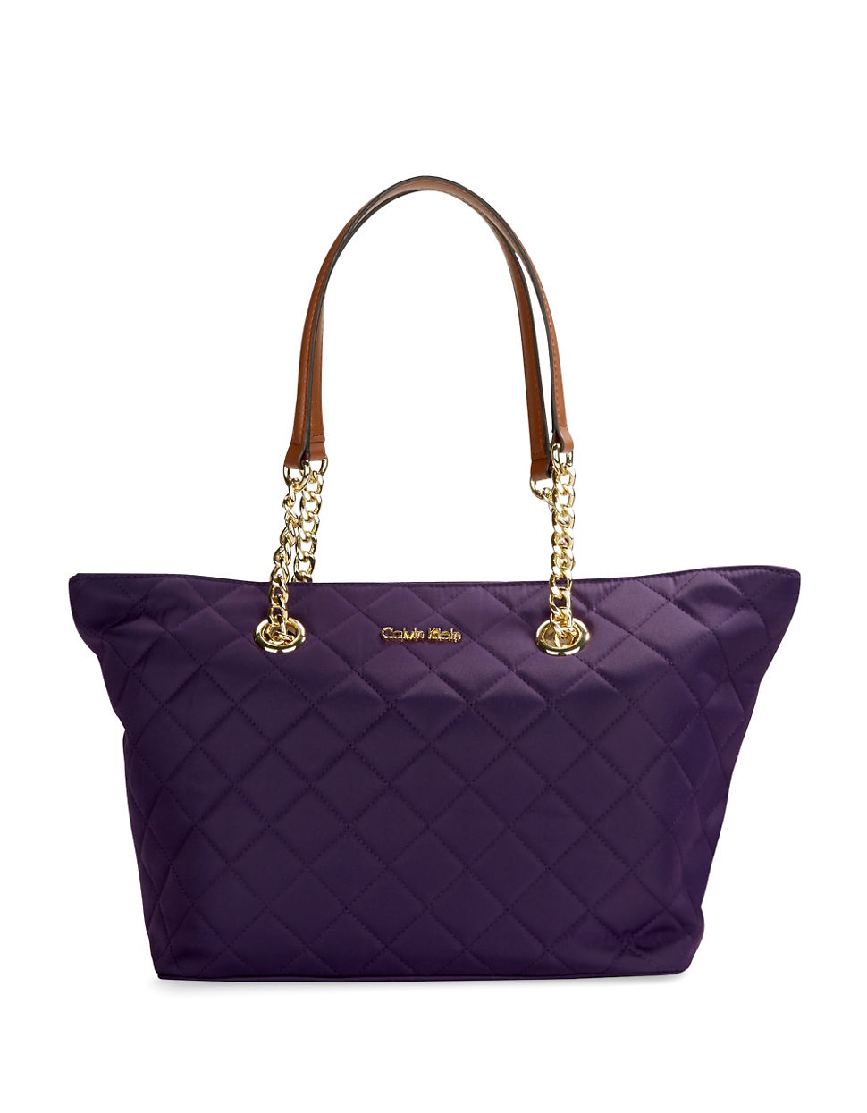 Lyst Calvin Klein Quilted Small Satchel Tote In Blue