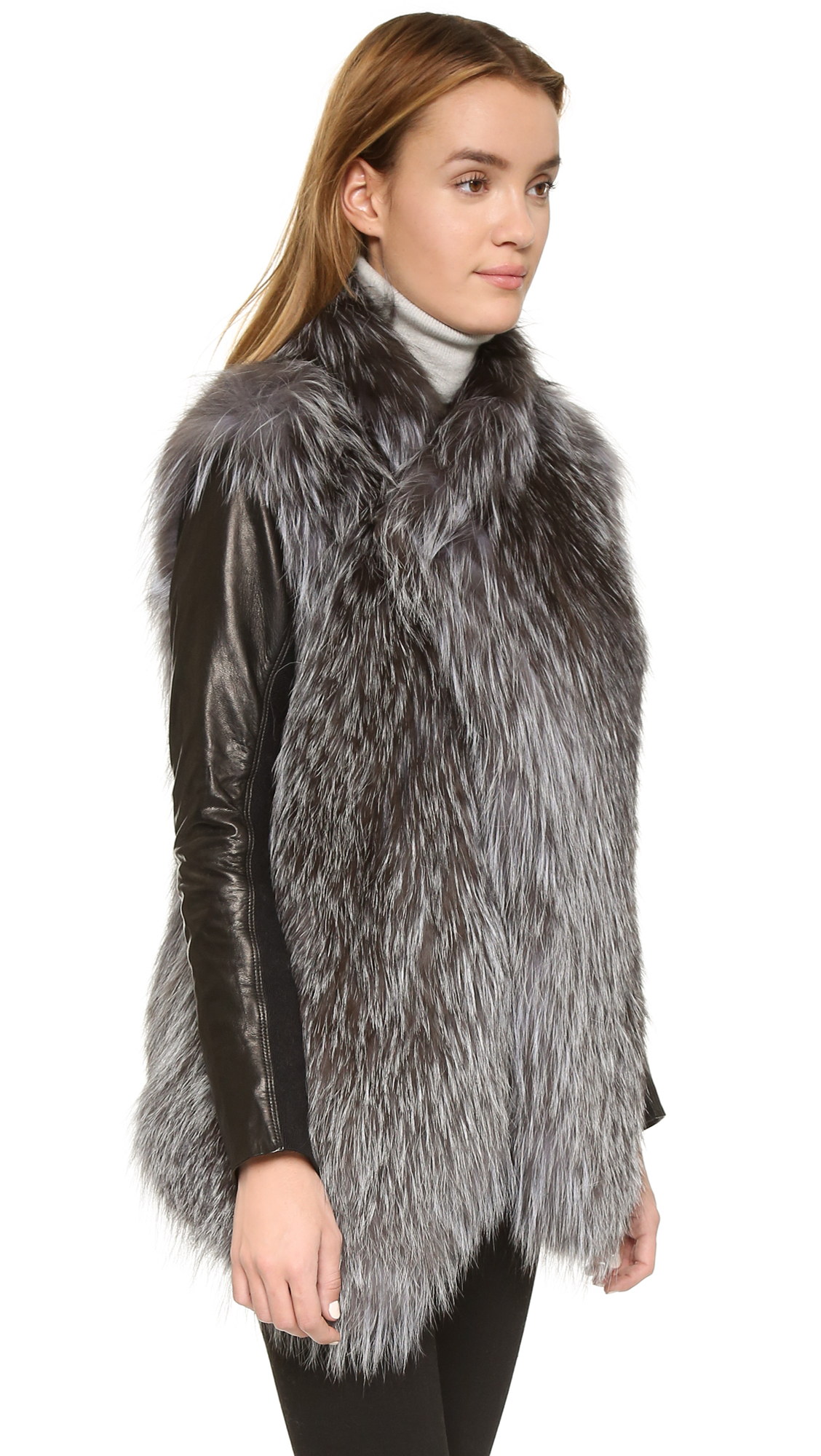 June Fur Jacket With Leather Sleeves in Metallic | Lyst