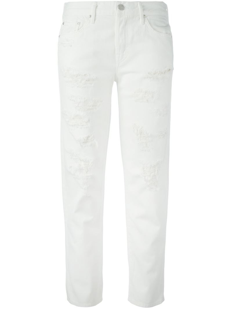 Mother The Loosey Boyfriend Jeans in White | Lyst