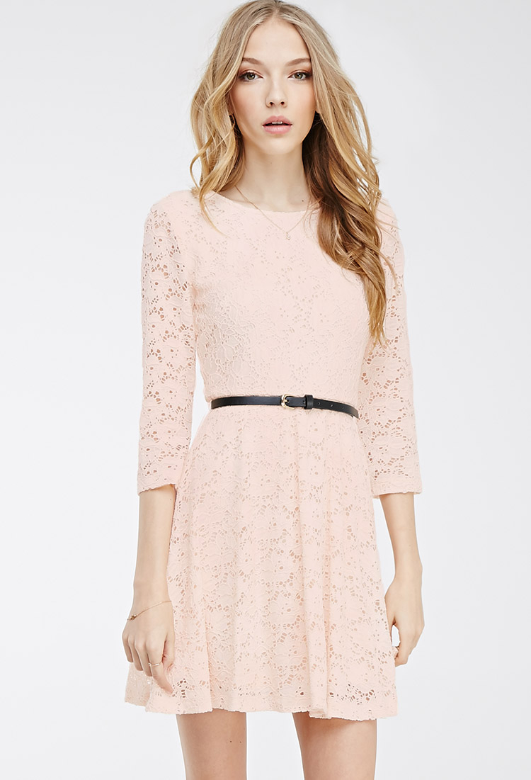adc21677ea Lyst - Forever 21 Belted Lace Skater Dress in Pink