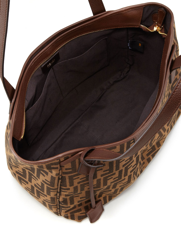 25948ef72ca4 ... real lyst fendi zucca grande shopping tote bag in brown 6ff8e 13136 ...