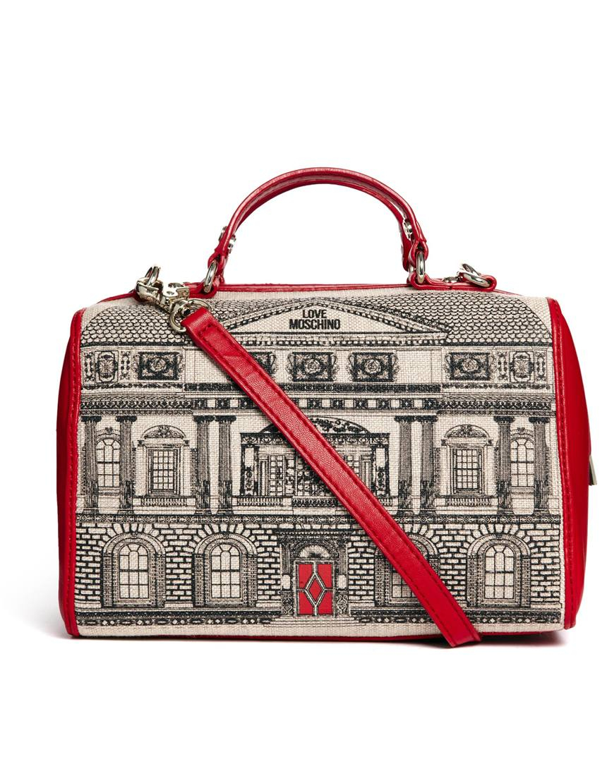 love moschino house across body bowling bag in red lyst. Black Bedroom Furniture Sets. Home Design Ideas