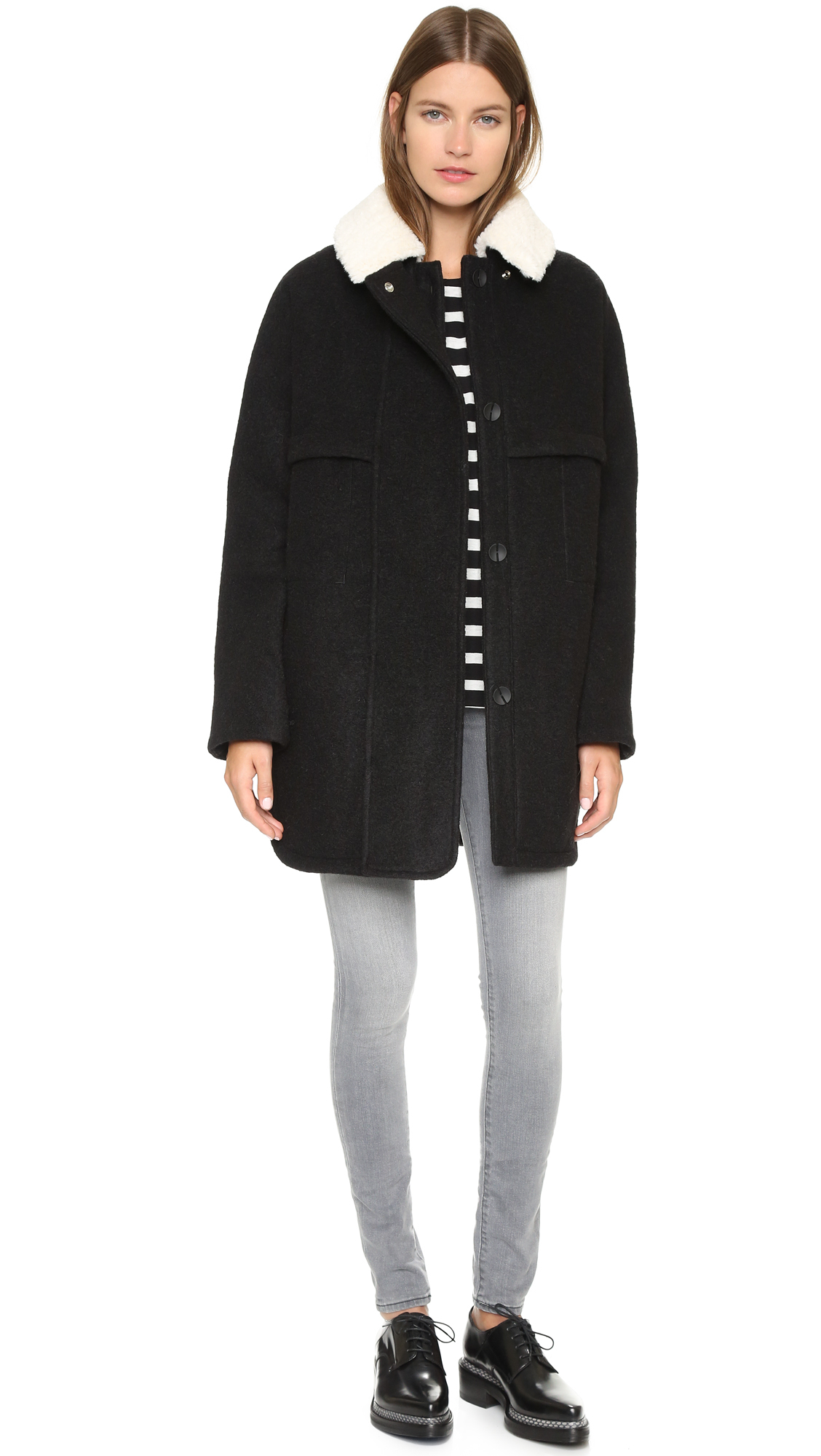Opening ceremony Morgane Oversized Coat - Black in Black | Lyst