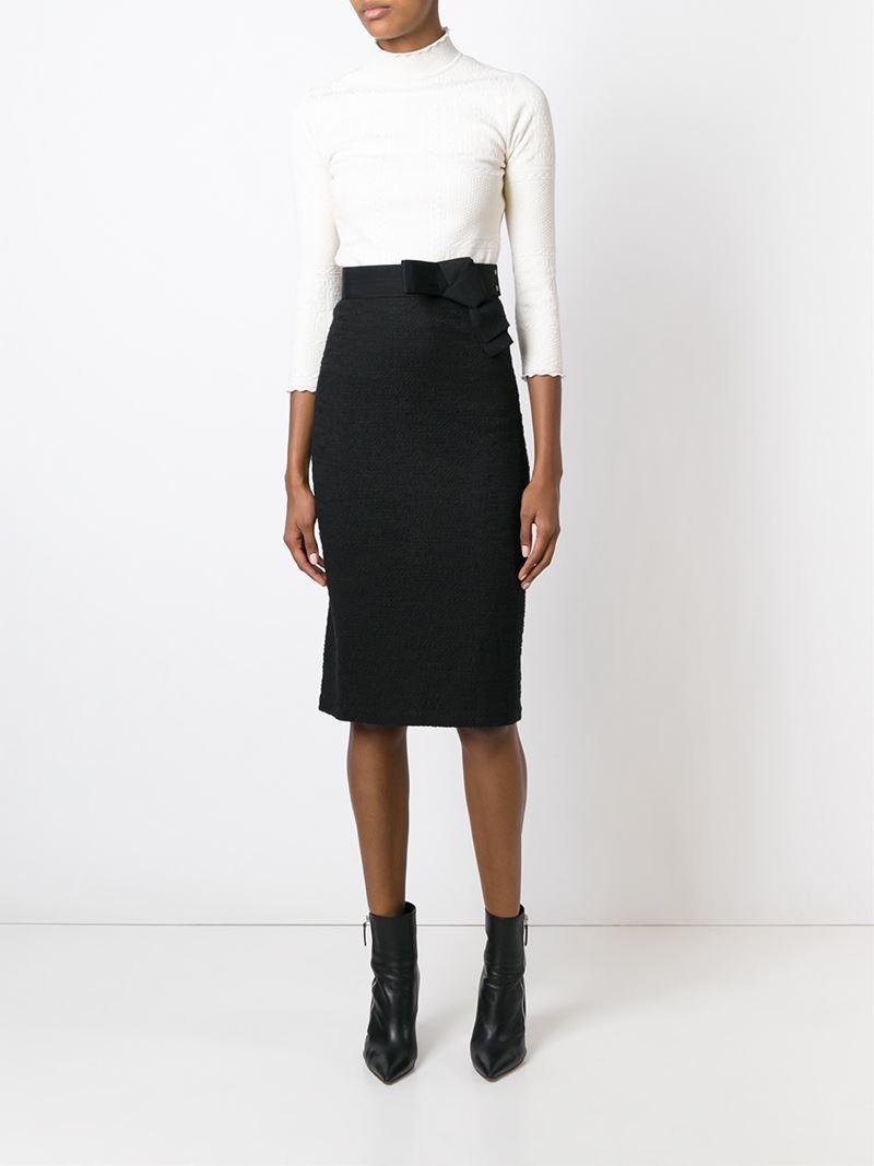 midi pencil skirt in black lyst