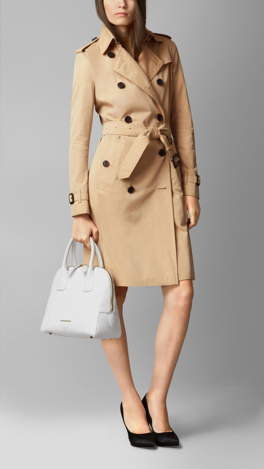 Lyst - Burberry Small Grainy Leather Bowling Bag in White 6408ae43482a5