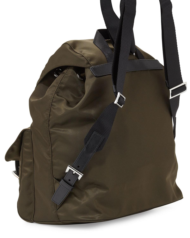 2fd28d8c3810 Prada Vela Medium Backpack in Green - Lyst