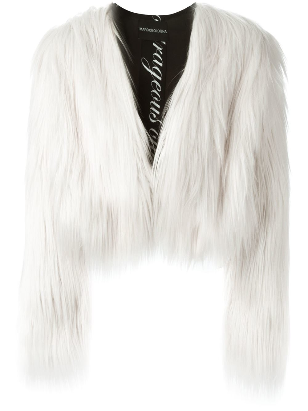 Lyst Marco Bologna Cropped Faux Fur Jacket In White